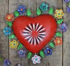 Clay Heart Red Tree of Life Style Handmade by Ortega Mexican Folk Art Tonala