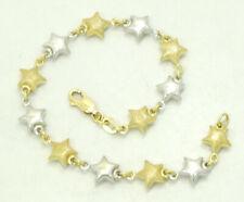 "18K Textured Yellow & Smooth White Gold Star Link Bracelet 7"" 7.5mm 7.6g M1652"
