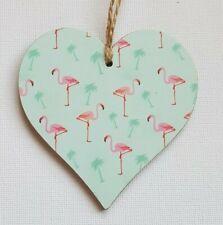 Handmade Wooden Hanging Heart Door Hanger Gorgeous Tropical Flamingo Print