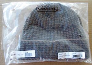 $128 Genuine COACH 100% Cashmere Solid Rib Knit Beanie Hat VICUNA New 84091