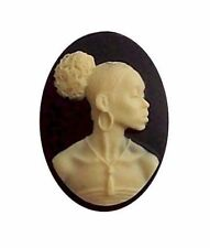 African American Cameo, Ethnic Cameo, Black Woman  25x18 Resin Black Ivory 608x