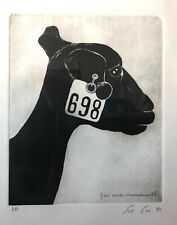 Sue Coe signed etching, Goat Outside Slaughterhouse, P.A. 1990.