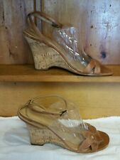 2bab38dbcf9 Cathy Jean Brown Caramel Wedge Sandals Size 7 37.5 Leather Made in Brazil