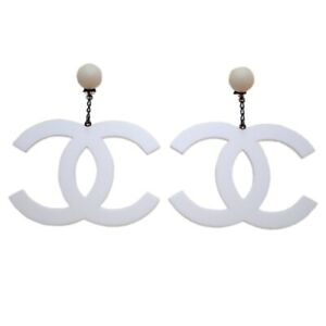 RARE Authentic Vintage Chanel earrings huge CC logo dangle plastic 1996 #ea3070
