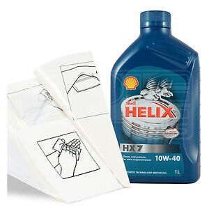 Engine Oil Top Up 1 LITRE Shell Helix HX7 10W-40 10W40 1L +Gloves,Wipes,Funnel