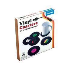 Gift Republic Set Of 6 Retro Vinyl Drinks Coasters Vintage Record Novelty Gift