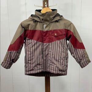 Orage Boy's Sz 5 Brown/Red Hooded Snow Jacket
