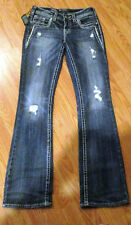 NWT Silver Jeans Women's AIKO Boot Cut Distressed Western Glove Works Jeans-26