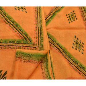 Tcw  Vintage Orange Sarees 100% Pure Silk Hand Beaded Craft Fabric Sari