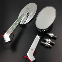 Alloy Turn signals Running Custom Mirror for Harley softail FatBoy OVAL Shape