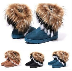 Women's Winter Snow Boots Ankle Boots Warm Faux Fur Plush Lined Slip On Shoes N*