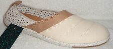 NEW EMU MEROO NATURAL CANVAS & LEATHER FLATS 6.5 M