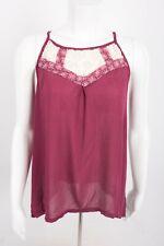Xhilaration Women's Blouse Tank Top Shirt M Red Gray Semi Sheer Crochet