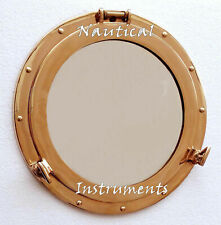 "Vintage Nautical Ship Boat Window Wall Mirror Solid Brass Porthole 15"" Maritime"