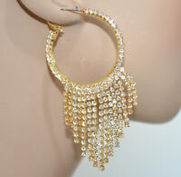 PENDIENTES ANILLO mujer oro strass elegantes colgantes pendientes novia BB87