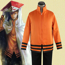 Anime Naruto Seventh Hokage Hoodies Jacket Cloak Uzumaki Naruto Cosplay Costume