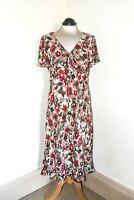 Stunning East Pure Silk Midi Dress Brown Raspberry Flowers Print Size 14 BNWOT