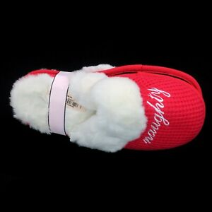 Victoria's Secret Naughty Nice Christmas Slippers Red Thermal White Faux Fur 7/8