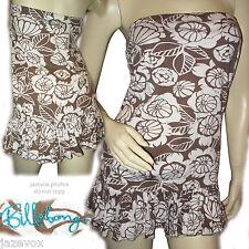 BILLABONG WHITE BROWN Floral Flowers Print Sleeveless Strapless TUBE TOP Women S