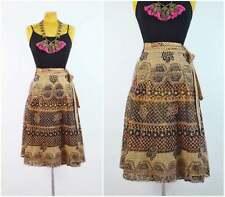 Vtg 70s Indian wrap skirt Deadstock India block print Lurex rainbow Metallic
