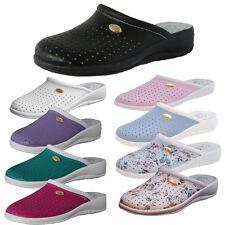 Women's Leather Clogs Nurse Shoes Garden Mules Slip On Flat Kitchen Shoe UK 3-8