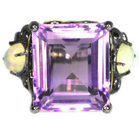 NATURAL PURPLE AMETHYST & RAINBOW OPAL STERLING 925 SILVER 2-TONE RING SIZE 8.25