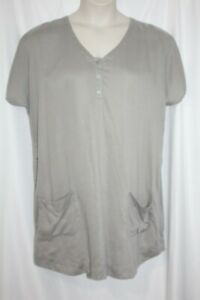 J.Jill Shift Dress Gray Short Sleeve Shirt Dress  Front Pockets Size Large