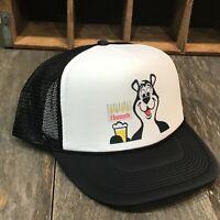 Hamms Bear Beer Trucker Hat Mesh Vintage 80's Style Brewery Snapback  Cap Black