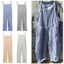 Women Overalls Loose Striped Wide Leg Casual Cami Romper Baggy Playsuit Jumpsuit