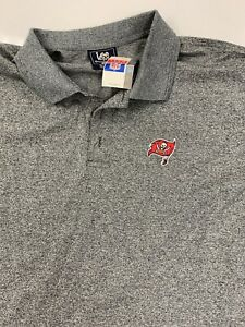 Lee Sport NFL Polo Shirt XXL Tampa Bay Buccaneers White Logo Flag Heather Black