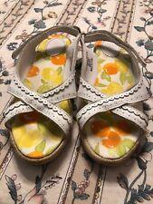 Used Janie & Jack Girls Sz 2K Taste Of Capri Citrus Shoes Sandals White Leather