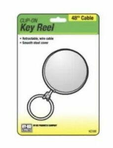 """Retractable Key Reel Clip Chrome Lanyard 48"""" Wire Cable for Badge Keys New"""