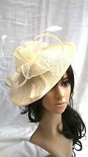 NEW IVORY /creamy SINAMAY & FEATHER FASCINATOR HAT.Shaped saucer disc,Wedding.
