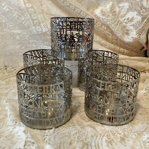5 older Bath & Body works silver Happy Holidays Celebrate jar candle holders