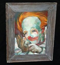 "1940s Hawaii Oil Painting ""Clown"" by Juliette May Fraser (1887-1983) (Geo)"