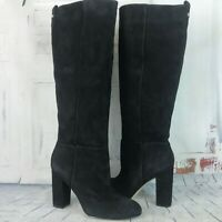 SAM EDELMAN CAPRICE Black Suede Leather Knee High Tall Boots  NEW
