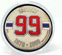 Wayne Gretzky Edmonton Oilers 3D Textured Silver Plated Medallion Puck in Tube