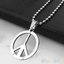 Men Fashion Stainless Steel Peace Sign Symbol Pendant Long Chain Charm Necklace
