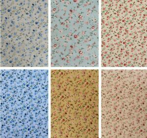 """Floral Polycotton Fabric 45"""" Rose Flowers Sewing Craft"""