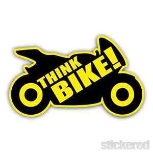 THINK BIKE CAR BUMPER BIKE WINDOW VINYL WARNING STICKER / DECAL 170mm x 100mm