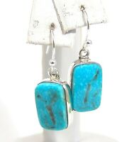 Sterling Silver Dangle Earrings Handmade Genuine Turquoise One of a Kind