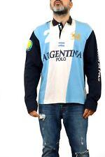 La Martina Polo Shirt Argentina Authentic Union Justicia Top Navy Sky Blue L FAB