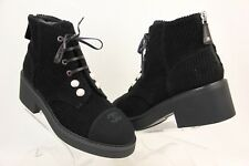 NIB CHANEL BLACK VELVET TWEED PEARLS LACE UP CC LACE UP ZIP ANKLE BOOTS 40.5