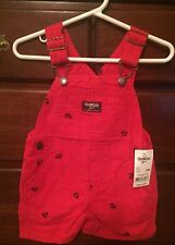 Oshkosh Boys Red Anchor Shortalls Overalls 12 months NEW With tags retail $32.00