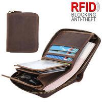RFID Men's Leather Small Wallet Slim Purse Zip Around Credit Card Coins Holder