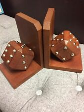 GENUINE REAL LEATHER - BROWN DICE BOOKENDS - BOOK ENDS - SHOWPIECES - NEW