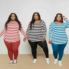 Fashion Clubwear Plus Size Stripes Print O Neck Long Sleeve Casual Outfits Women