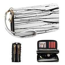 Women Dual Zip Around Wallets Leather Clutch Purse Coin Bag Card ID Phone Holder