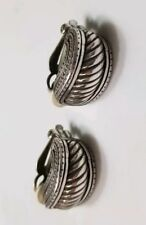 Tone Unsigned Retro Jewelry Vintage Clip Earrings Silver