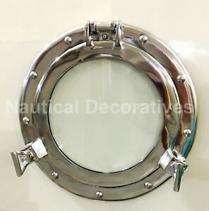 """17"""" Nickel Plated Canal Boat Porthole Ship Round Window Glass Home Decor"""